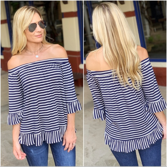 Infinity Raine Tops - ✨LAST 1✨Navy and white striped off shoulder tunic